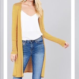 Sweaters - NEW mustard yellow form fitting long cardigan